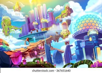 Creative Illustration and Innovative Art: Future City. Realistic Fantastic Cartoon Style Artwork Scene, Wallpaper, Story Background, Card Design
