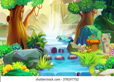 Creative Illustration and Innovative Art: Going Upstream. Realistic Fantastic Cartoon Style Artwork Scene, Wallpaper, Story Background, Card Design