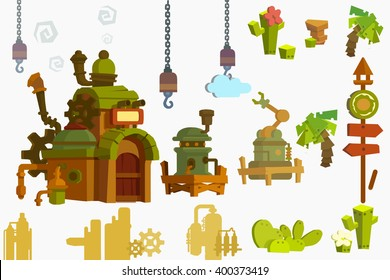 Creative Illustration and Innovative Art: Industry Objects isolated on White Background. Realistic Fantastic Cartoon Style Artwork Scene, Wallpaper, Story Background, Card Design