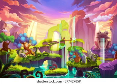 Creative Illustration and Innovative Art: Light Island. Realistic Fantastic Cartoon Style Artwork Scene, Wallpaper, Story Background, Card Design