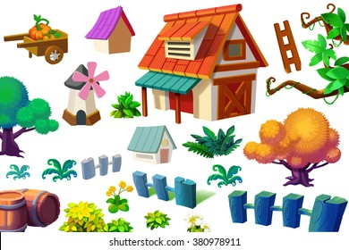 Creative Illustration and Innovative Art: Nature and Building Cartoon Items Set isolated 2. Realistic Fantastic Cartoon Style Artwork Scene, Wallpaper, Story Background, Card Design