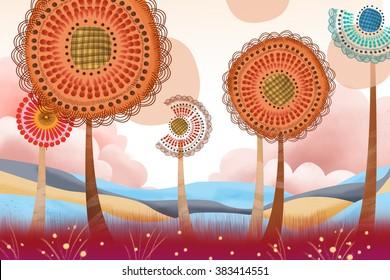 Creative Illustration and Innovative Art: Quirky Big Flower Land. Realistic Fantastic Cartoon Style Artwork Scene, Wallpaper, Story Background, Card Design
