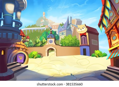 Creative Illustration and Innovative Art: A Small Town By The Sea. Realistic Fantastic Cartoon Style Artwork Scene, Wallpaper, Story Background, Card Design