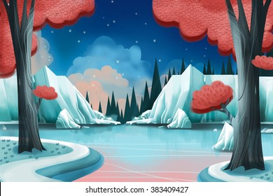 Creative Illustration and Innovative Art: Winter Lake. Realistic Fantastic Cartoon Style Artwork Scene, Wallpaper, Story Background, Card Design