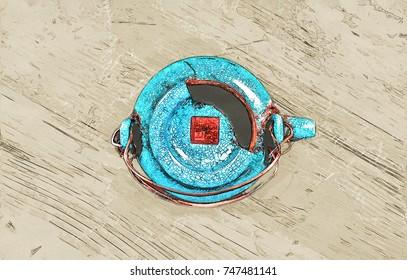 Creative illustration of a japanese broken cyan teapot