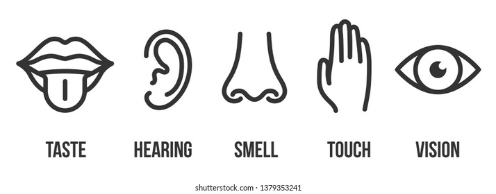 Creative illustration line icon set of five human senses. Vision, hearing, smell, touch, taste isolated on background. Art design nose, eye, hand, ear, mouth with tongue element
