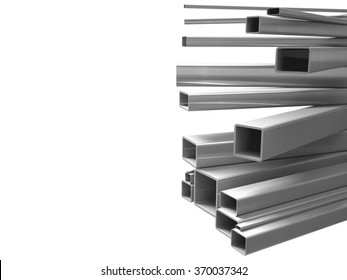 Creative illustration: many shiny steel pipes, industrial three-dimensional image, illustration. A set of tubes stacked in layers, great for business cards, billboards, and other advertising.
