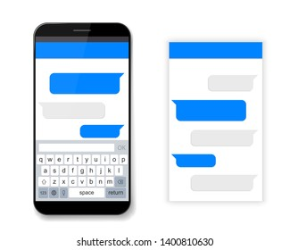 Creative illustration of messenger window. Social network talking art design. Mobile phone live chat boxes. Smartphone online app. Compose dialogues mockup. Abstract concept graphic element.