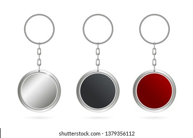 Creative illustration of metal keychains for key set isolated on background. Art design template. Abstract concept key chain mock up top view, keyring holder graphic element
