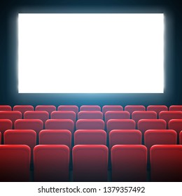 Creative illustration of movie cinema screen frame and theater interior. Art design premiere poster background, lights and rows red seats. Abstract concept graphic scene element