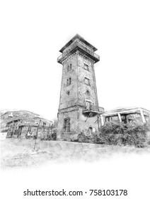Creative Illustration - Old Brick Watch Tower Sketch