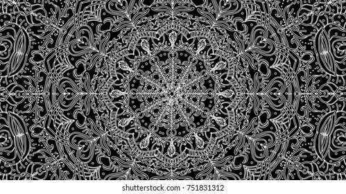Creative illustration of oriental ornament with floral decoration in black and white. Abstract background for design