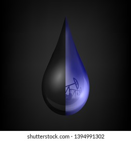 Creative illustration of petroleum drop, droplet of a crude gasoline or oil from pump industry, barrel isolated on background. Art design template. Abstract concept graphic element