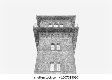 Creative Illustration from photo - Old Brick Watch Tower - Pencil Sketch