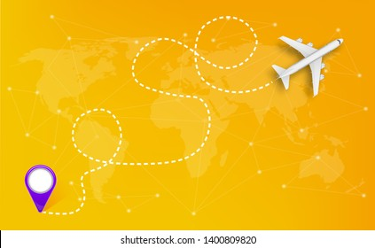 Creative illustration of plane with dashed path lines isolated on background. Art design airplane sky route. Abstract concept graphic element for air transportation presentation