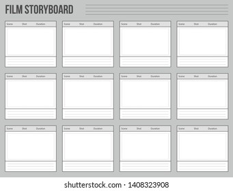 Creative illustration of professional film storyboard mockup isolated on background. Art design movie story board layout template. Abstract concept graphic shot and scene element