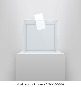 Creative illustration of realistic empty ballot box with voting paper in hole isolated on background. Art design glass case is on museum pedestal, stage, 3d podium. Concept graphic