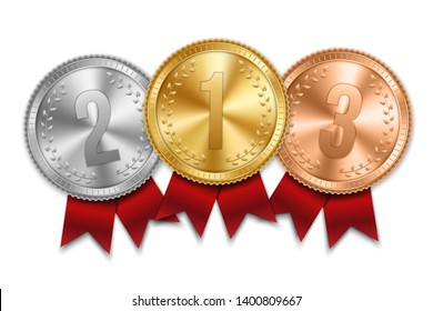 Creative illustration of realistic gold, silver and bronze medal set on colorful ribbon isolated on background. Art design placement in sport competition contest. Graphic element