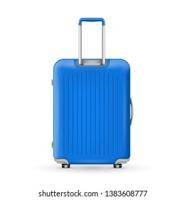 Creative illustration of realistic large polycarbonate travel plastic suitcase with wheels isolated on background. Art design traveler luggage. Abstract concept graphic element