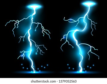 Creative illustration of realistic lightnings set isolated on background. Art design thunder bolt, storm, sparkle magic effect. Abstract concept graphic electric energy element.