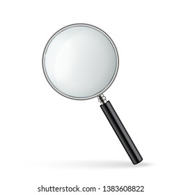 Creative illustration of realistic magnifying glass isolated on background. Art design search, inspection symbol. Abstract concept magnifier zoom, tool with hand lens element