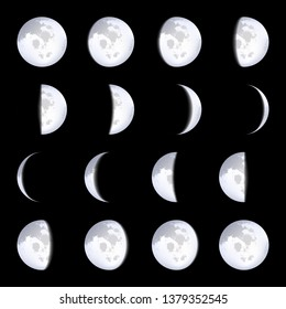 Creative illustration of realistic moon phases schemes isolated on background. Art design lunar calendar. Different stages of moonlight activity. Abstract concept graphic element.