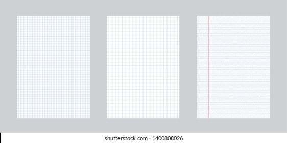 Creative illustration of realistic square, lined paper blank sheets set isolated on background. Art design lines, grid page notebook with margin. Abstract concept graphic element