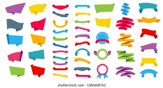 Creative illustration of representing label stickers banners tag set collection isolated on background. Art design in flat style with bright color. Abstract concept graphic element
