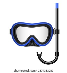 Creative illustration of scuba diving, swimming mask with snorkel, goggles, flippers isolated on background. Art design realistic snorkeling diver equipment for summer holidays
