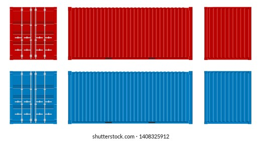 Creative illustration of sea freigh cargo containers views from different sides collection isolated on background. Art design realistic set. Shipping, transportation element for logistics