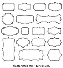 Creative illustration set of decorative vintage frames isolated on background. Art design border labels. Blank frames template. Abstract concept graphic retro element