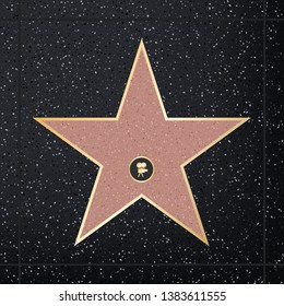 Creative illustration of sidewalk famous actor star. Hollywood walk of fame art design. Abstract concept graphic element of blank template on granite square in boulevard