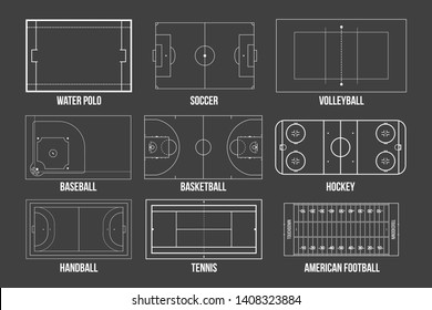 Creative illustration of sport game fields marking isolated on background. Graphic element for handball, tennis, american football, soccer, baseball, basketball, hockey, water polo, volleyball