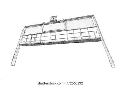 Creative Illustration - Stadium Scoreboard Isolated - Pencil Drawing
