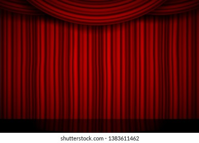 Creative illustration of stage with luxury scarlet red silk velvet drapes and fabric curtains isolated on background. Art design. Concept element for music party, theater, circus, opera, show