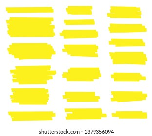 Creative illustration of stain strokes, hand drawn yellow highlight japan marker lines, brushes stripes isolated on background. Art design. Abstract concept graphic stylish element