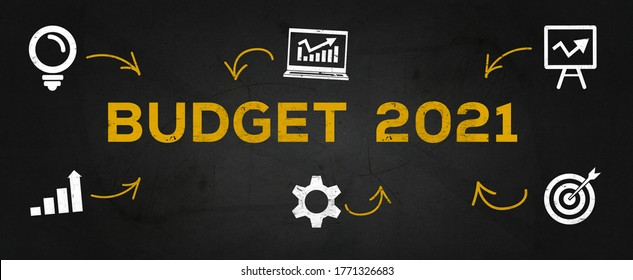 Creative Illustration Text Design (Budget 2021) auf dunklem Asphalt Textur.