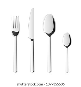 Creative illustration top view cutlery set of silver fork, spoon, knife isolated on background. Art design kitchen silverware table setting. Concept graphic printables element