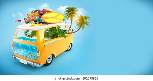 Creative Illustration of traveling theme. Minivan with luggage and tropical island inside. Underwater world.