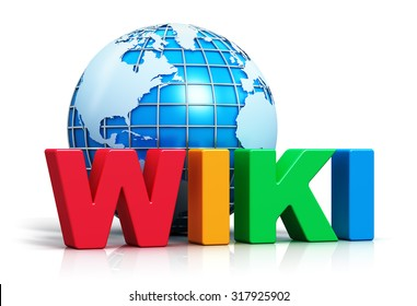 Creative internet encyclopedia, knowledge database learning and online education studying concept: color Wiki word text and blue Earth planet globe isolated on white background with reflection effect