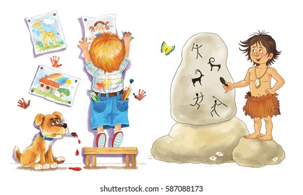 Creative Kids Different Centuries Cute Young Stock Illustration