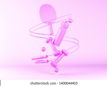 Creative layout made of Sport tools on pink pastel background. Concept flat lay sport. Minimal fitness idea. 3d illustration