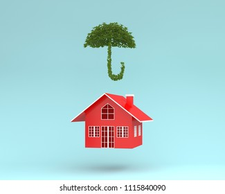 Creative layout of Red house with plant umbrella floating on blue background. minimal for real estate concept. environmentally friendly materials