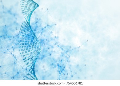 Creative light blue digital code DNA on white background. Medicine and innovation concept. 3D Rendering