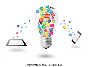 Creative light bulb with cloud of colorful application icon, Mobile phone with computer tablet PC business software and social media networking service concept, isolated on white background