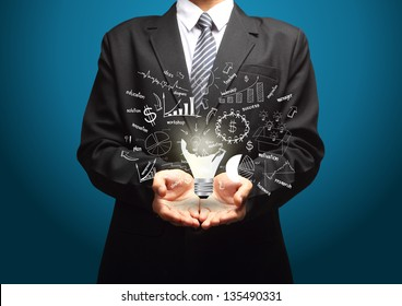 Creative light bulb with drawing business strategy plan concept idea, in the hands of businessmen