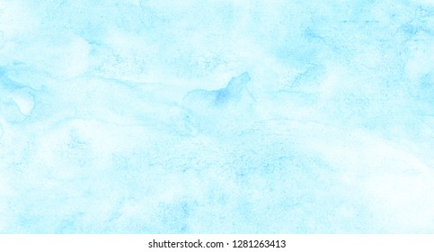 Creative light sky blue shades watercolor background. Aquarelle paint paper textured canvas for design, card template. Turquoise gradient color handmade illustration