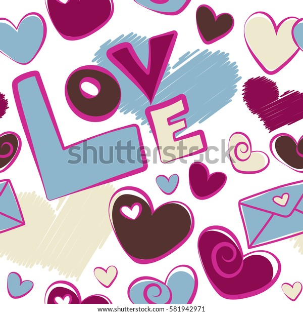 Creative, luxury style on a white. Print card, cloth, wrapper, cover, gift, banner, poster, greeting, invitation. Seamless Valentines day pattern with hearts in magenta, brown and purple colors.
