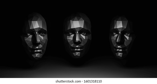 creative male or female face concept polygon surface mesh in 3 different angles 3d illustration render