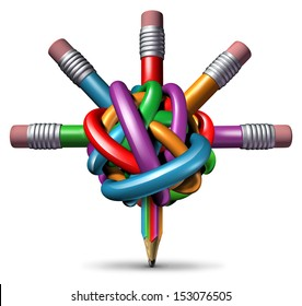 Creative management and leadership business concept as a group of tangled confused color pencils focused on clear managed direction for team strategy resulting in imagination and innovation success.